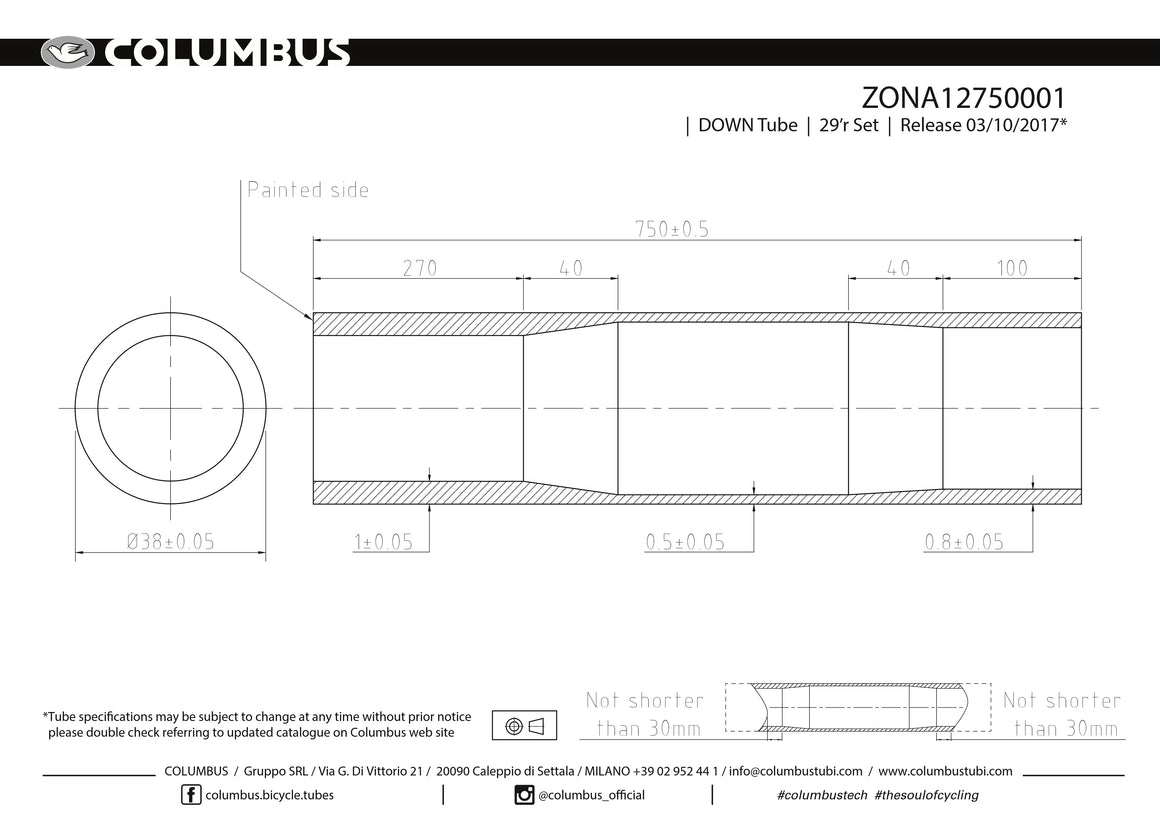 ZONA12750001 - Columbus Tubing Zona down tube - 38 diameter - 1/.5/.8 wall thickness. Length = 750