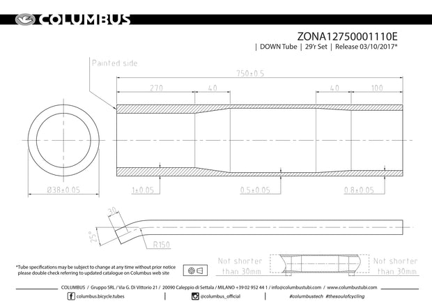 ZONA12750001110E  Columbus Tubing 29er down tube with bend - 38 diameter - 1/.5/.8 wall thickness. Length = 750
