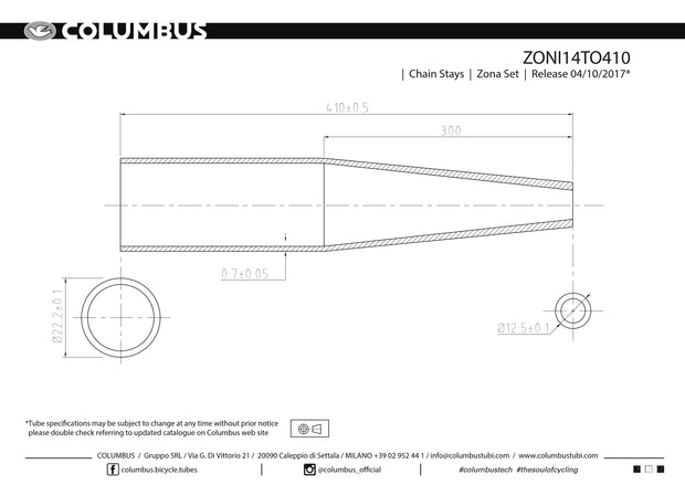 ZONI14TO410 - Columbus Tubing Zona chainstays - round - 22.2 OD - .7 wall - length = 410
