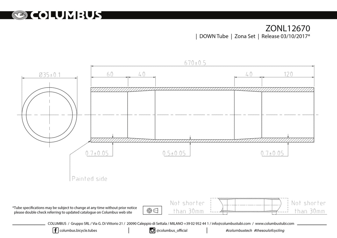 ZONL12670 - Columbus Tubing Zona down tube - 35 diameter - .7/.5/.7 wall thickness. Length = 670