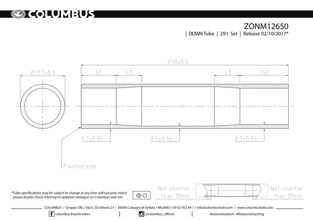 ZONM12650  Columbus Tubing Zona 29er top/down tube - 31.7 diameter - .7/.5/.7 wall thickness. Length = 650