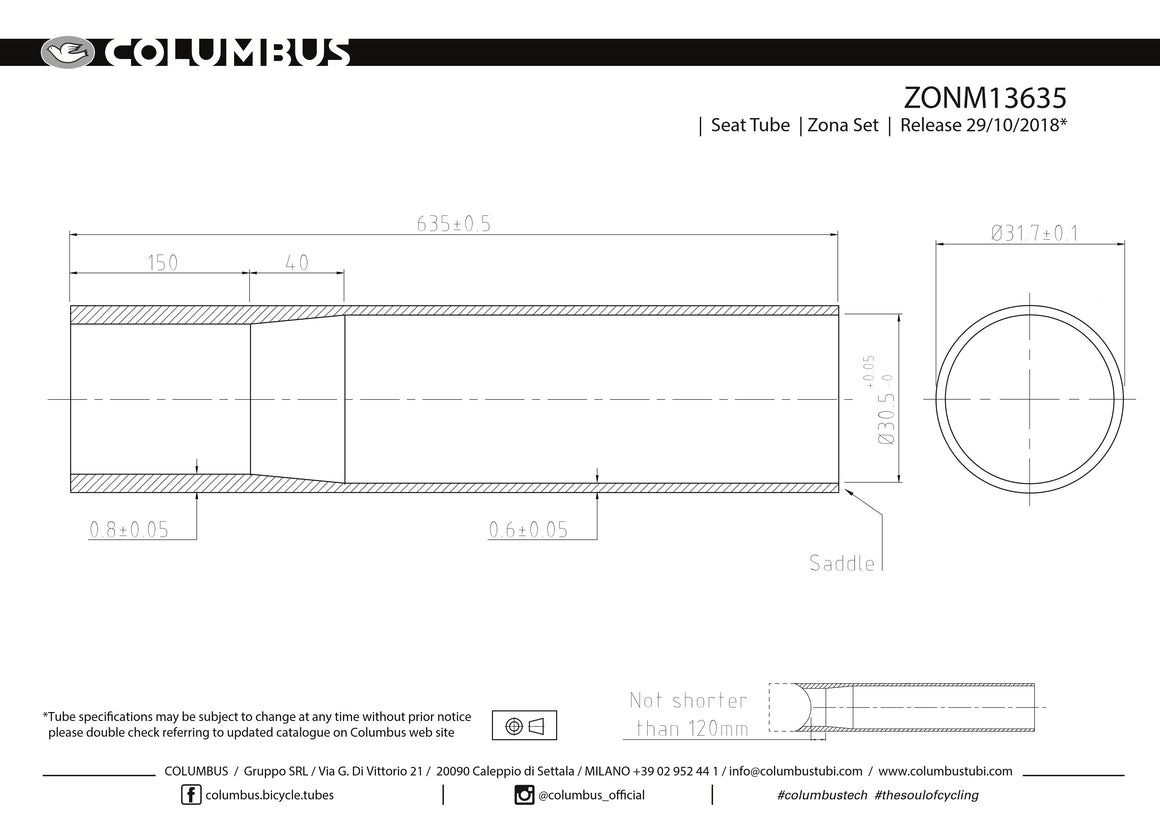 ZONM13635 - Columbus Zona single butted seat tube - 31.7 dia. - .8/.6 - length = 635