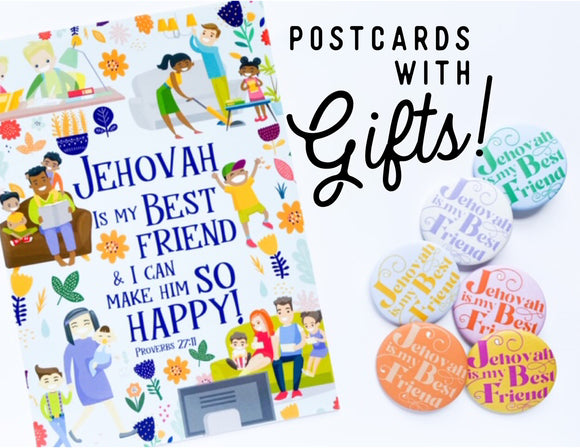 (WITH PRIZES) Jehovah is my Best Friend and I Can Make Him So Happy Postcards