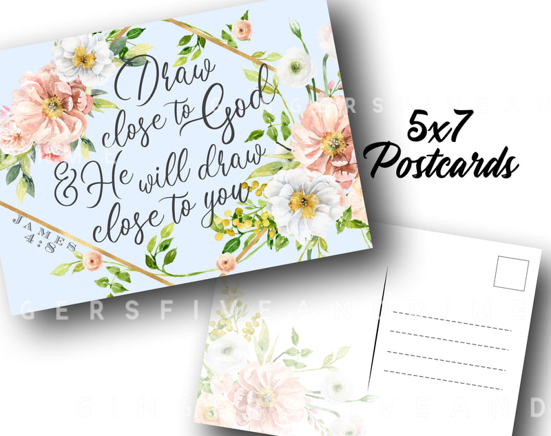 Draw Close to God Letter Writing 5x7 Postcards