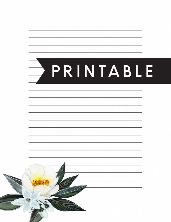 Simple Floral Letter Writing Printable
