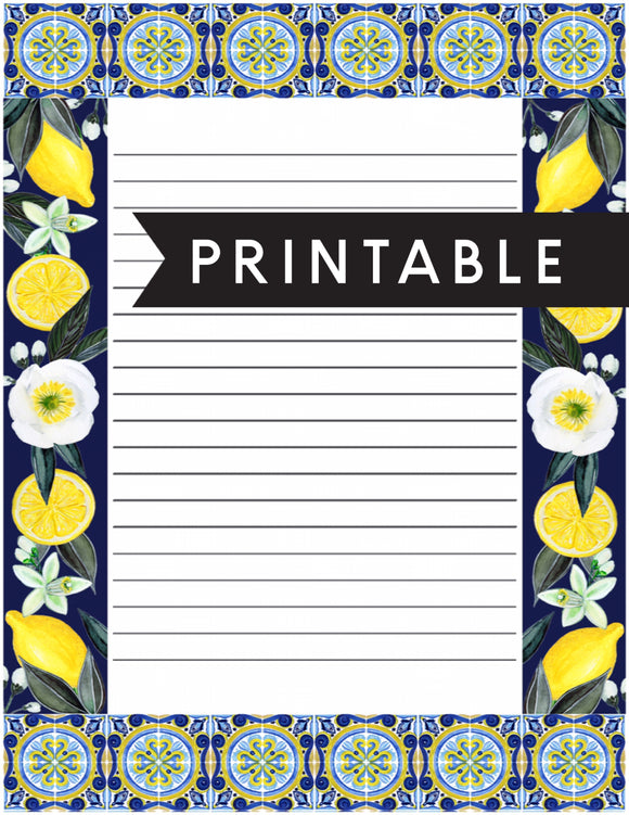 Lemon Letter Writing Printable