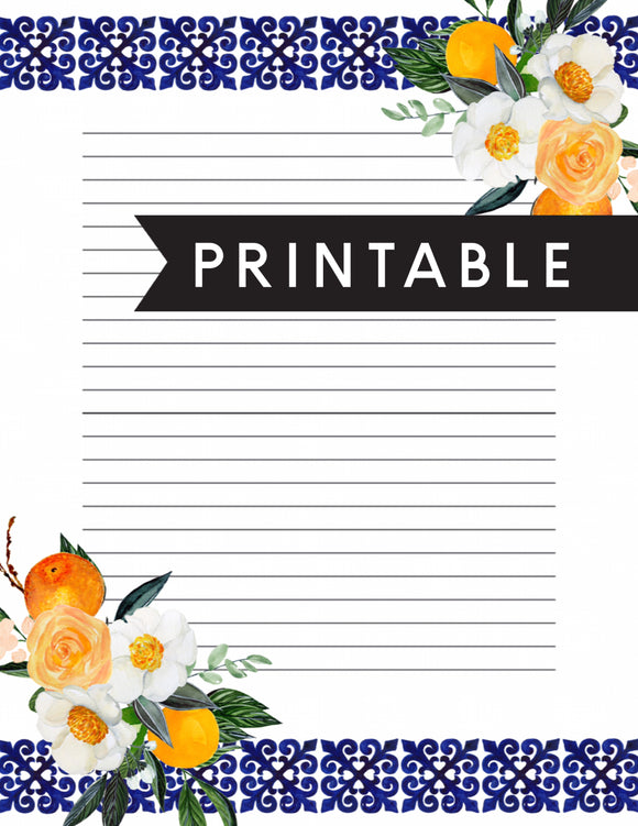 Floral Letter Writing Printable