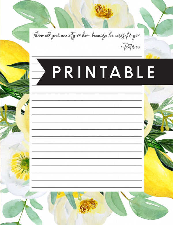 Throw All Your Anxiety Letter Writing Printable