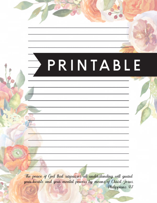 Peace of God Letter Writing Printable
