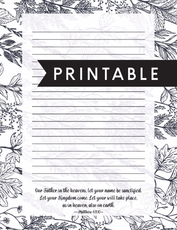 Matthew 6:1 Letter Writing Printable