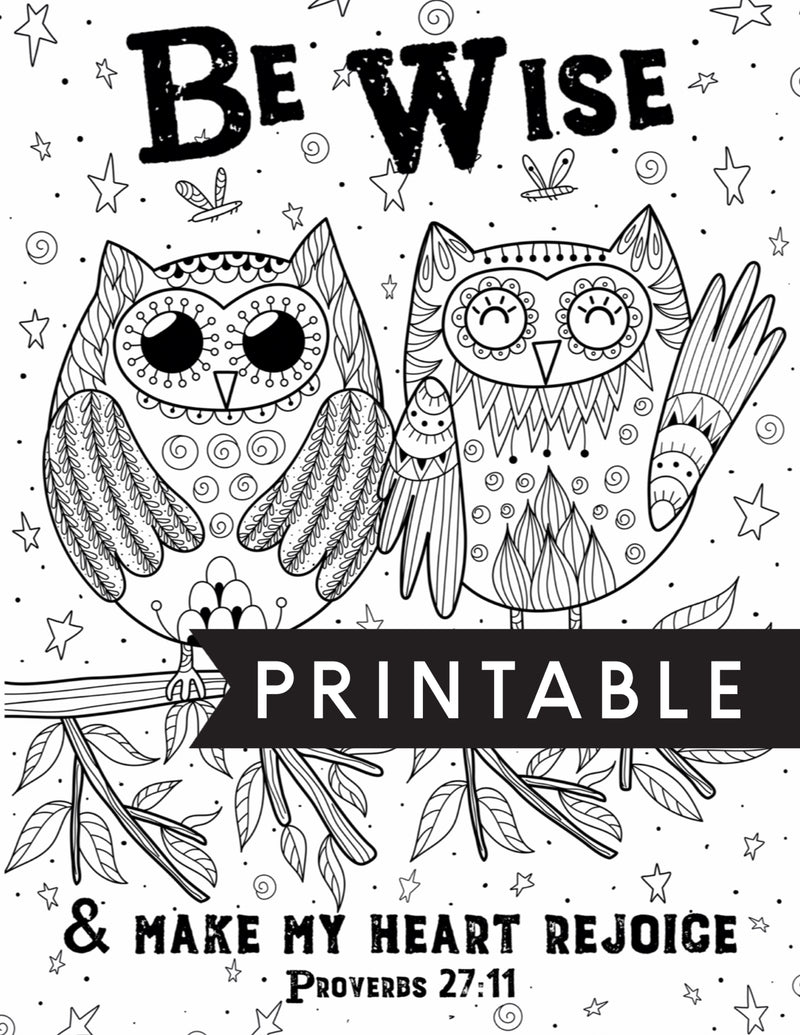 Be Wise and Make My Heart Rejoice Kids Coloring Page