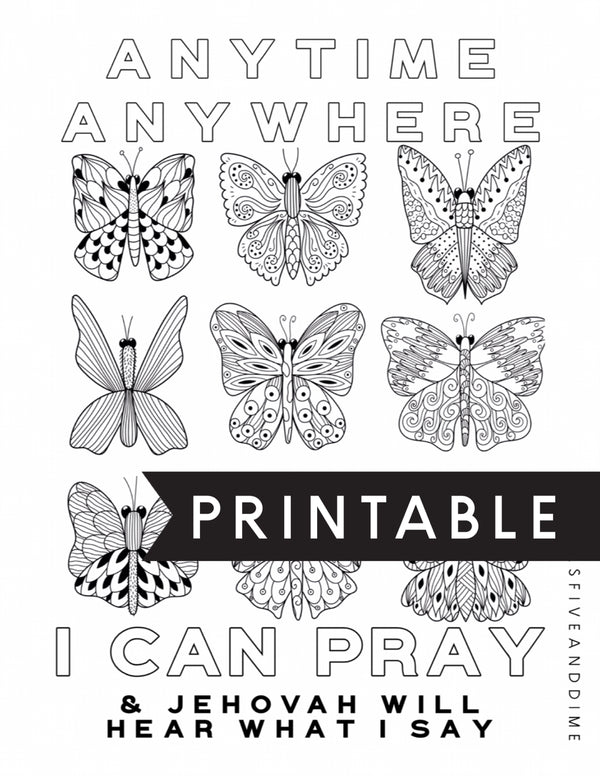 Anytime Anywhere I Can Pray Butterfly Kids Coloring Page