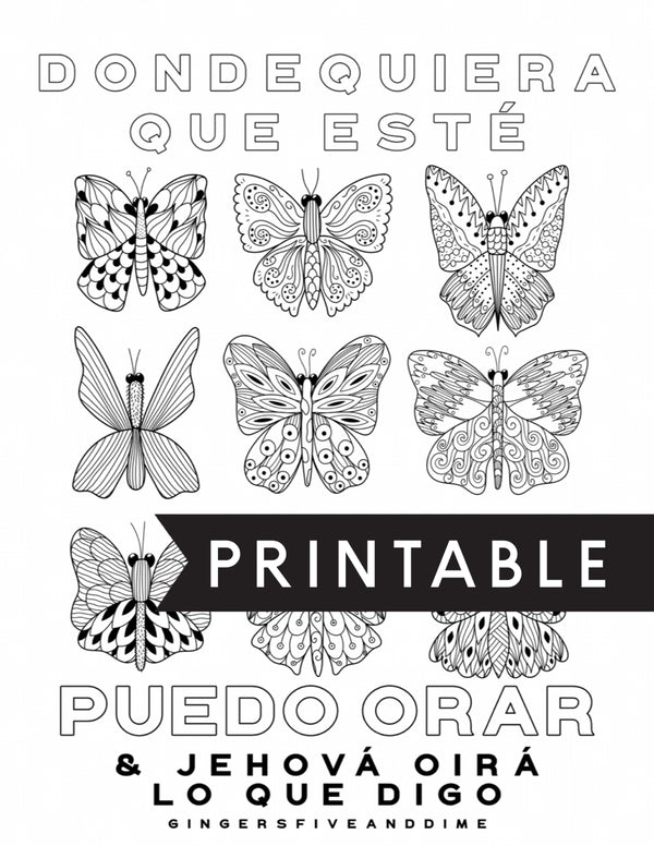 Spanish Anytime Anywhere I Can Pray Butterfly Kids Coloring Page