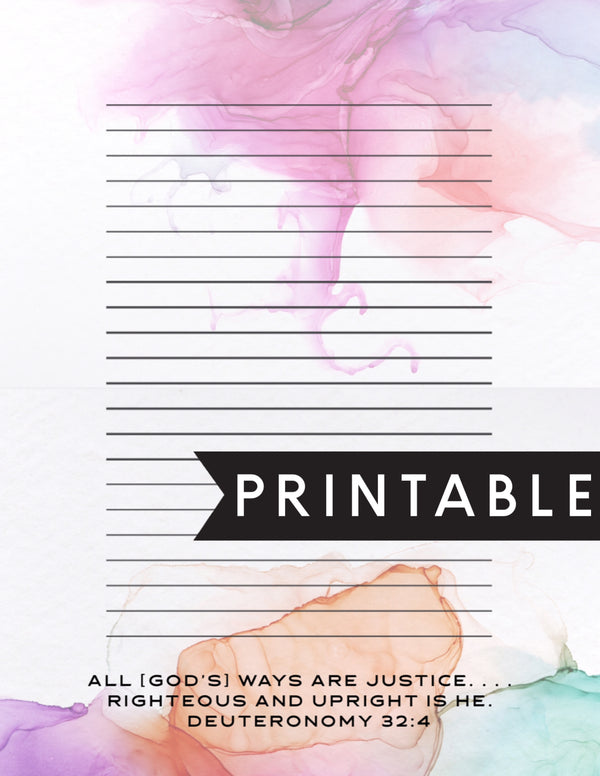 All Gods Ways Are Justice Letter Writing Printable