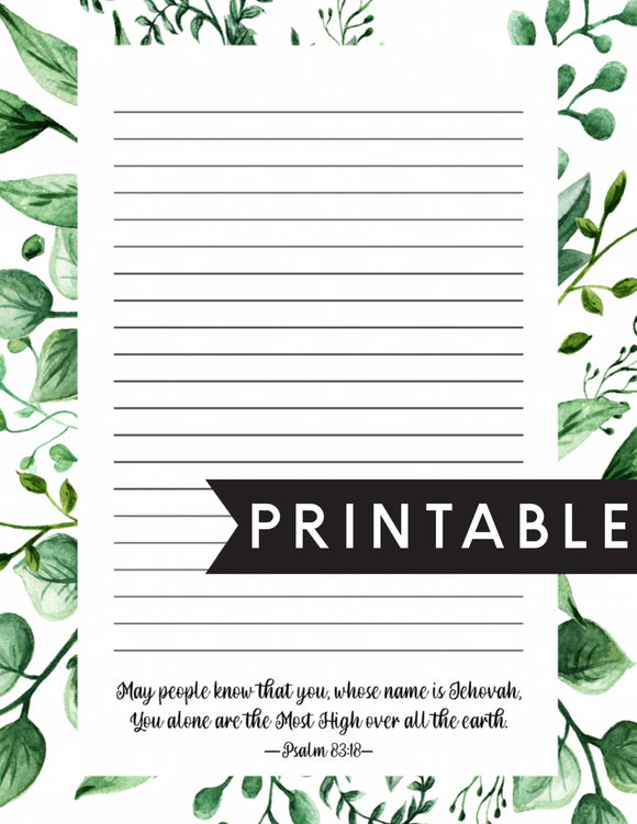 Jehovahs Name Letter Writing Printable