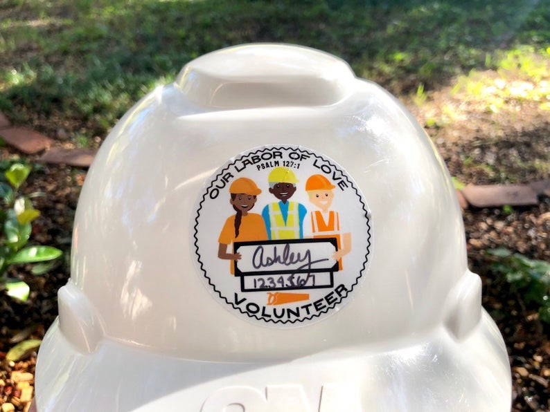 LDC DRC Volunteer Hard Hat Sticker - Name and Number