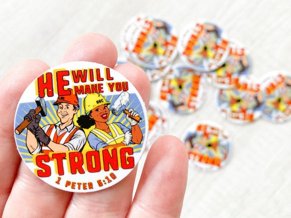 LDC DRC Volunteer Hard Hat Sticker - He Will Make You Strong