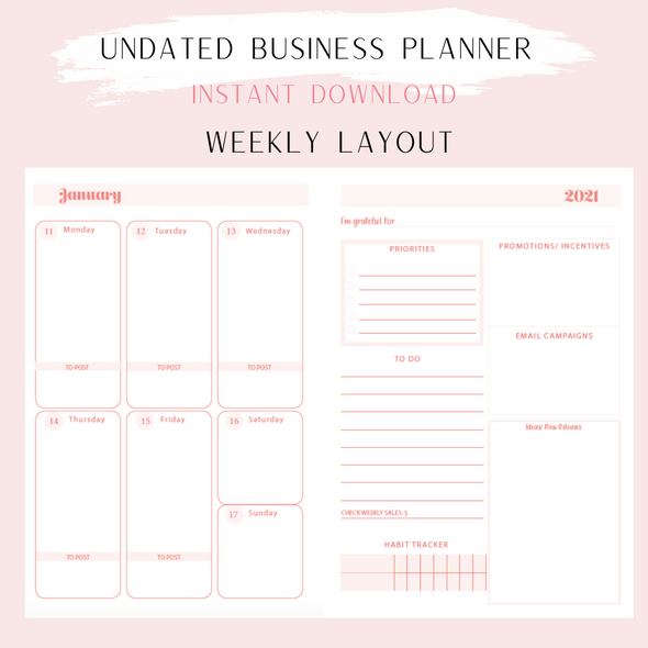 Undated Business Planner A5 Size- Instant Download