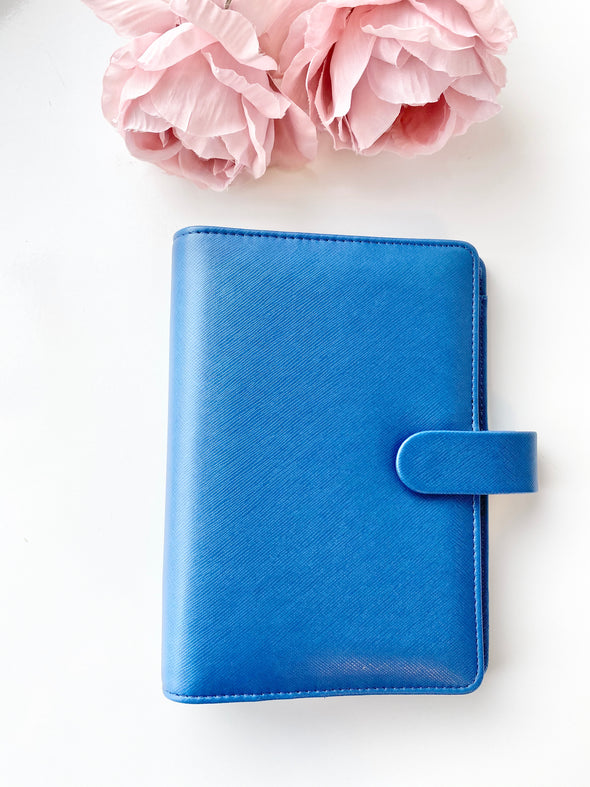 Blue Faux Leather Ring Planner