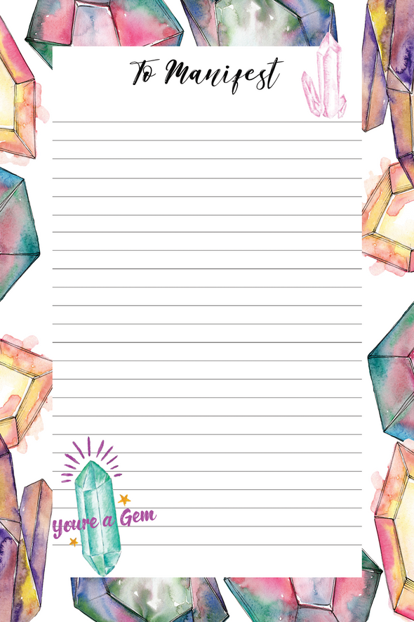 To Manifest Crystals Notepad