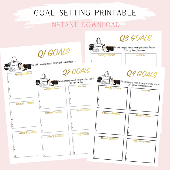 Goal Setting Printable Planner Sheets