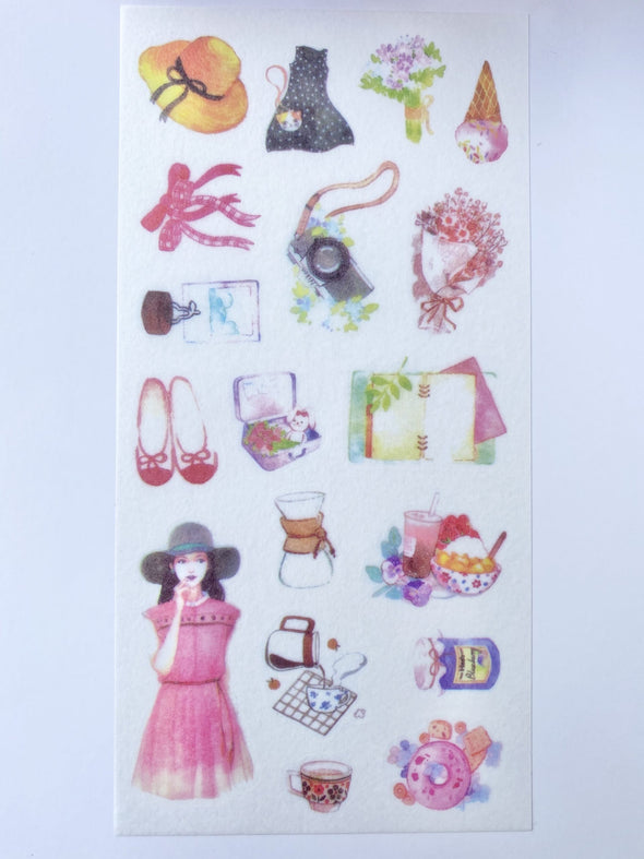 Set of 3 Fashion Girls Clear Stickers