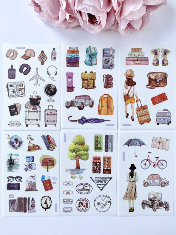 Set of 6 Travel Adventures Clear Stickers