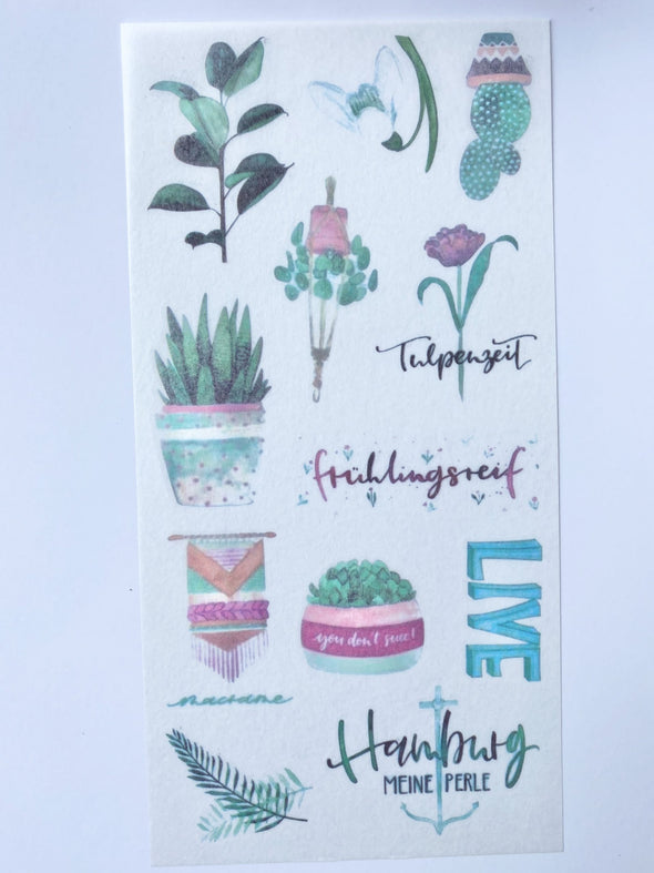 Set of 3 Plant Leaves Clear Stickers
