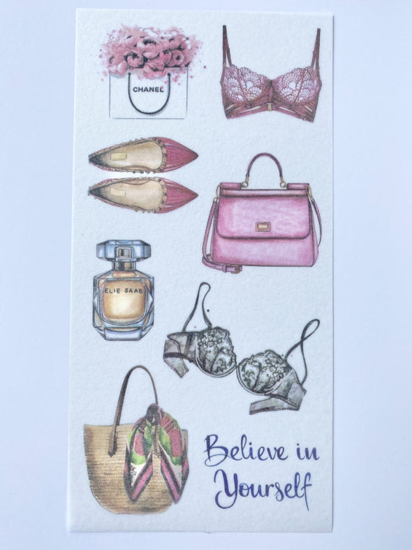 Set of 3 Fashion Lovers Clear Stickers