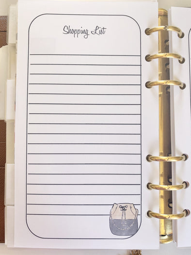 Shopping List Notes - 10 Pages