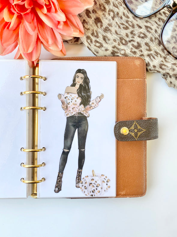 Fall Spice Leopard Girl Planner Dashboard