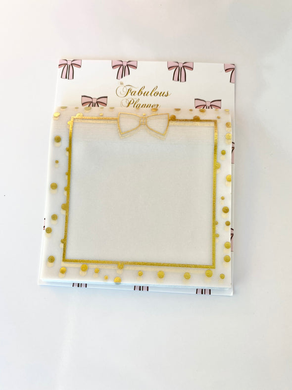 Gold Foil Vellum Memo Sticky Notes Notepad
