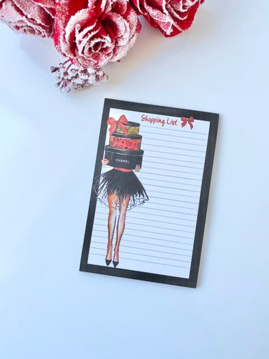 Luxury Holiday Shopping List Notepad Memo Pad