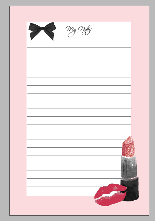 Lipstick Notepad Memo Sticky Notes