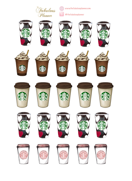 Coffee Cups Stickers - 2 Sheets