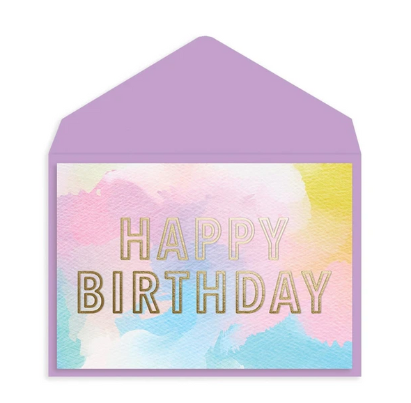 Watercolor and Gold Foil Birthday Card