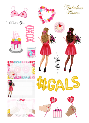 3 Sheets Galentines Day Stickers