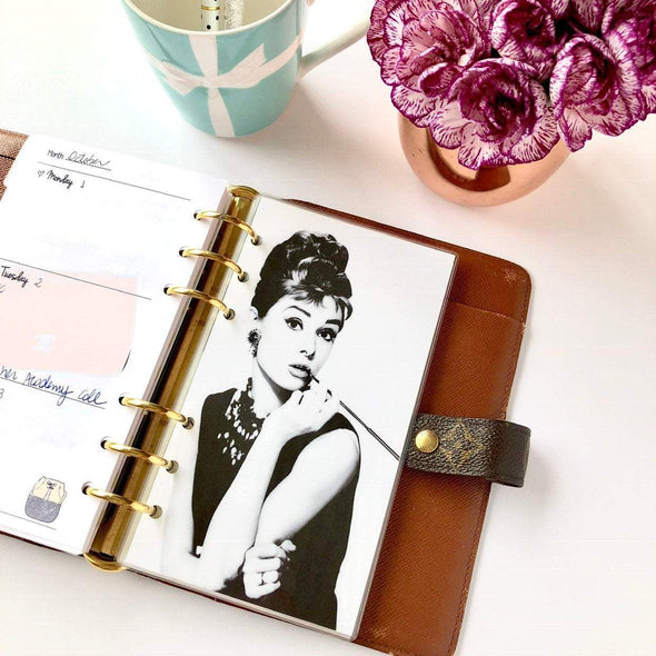 Black and White Audrey Hepburn Planner Dashboard