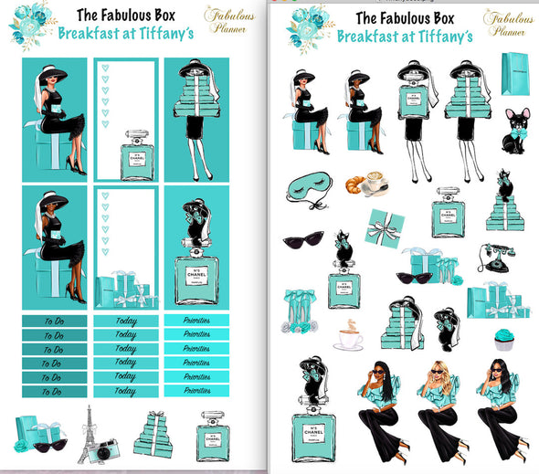 2 Sheets Breakfast at Tiffany's Planner Stickers