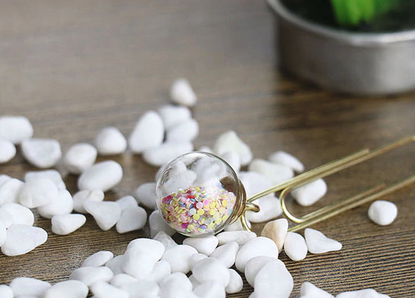 Crystal Glitter Ball Paper Clips
