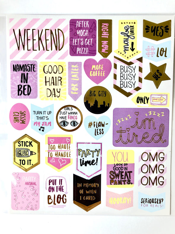 Gold Foil Glossy Fun Stickers