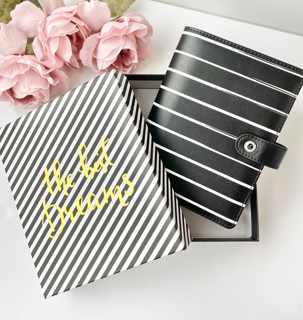 Black Stripe Ring Planner - Medium