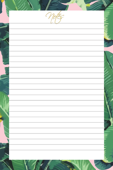 Banana Leaves Chic Notepad Memo Pad