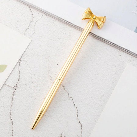 Rose Gold Bow Pen