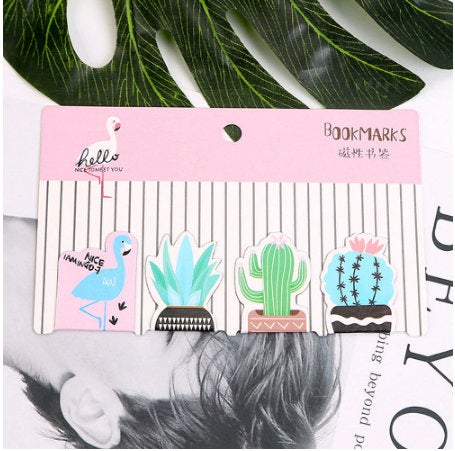Set of 4 Summer Flamingo Cactus Magnetic Bookmarks