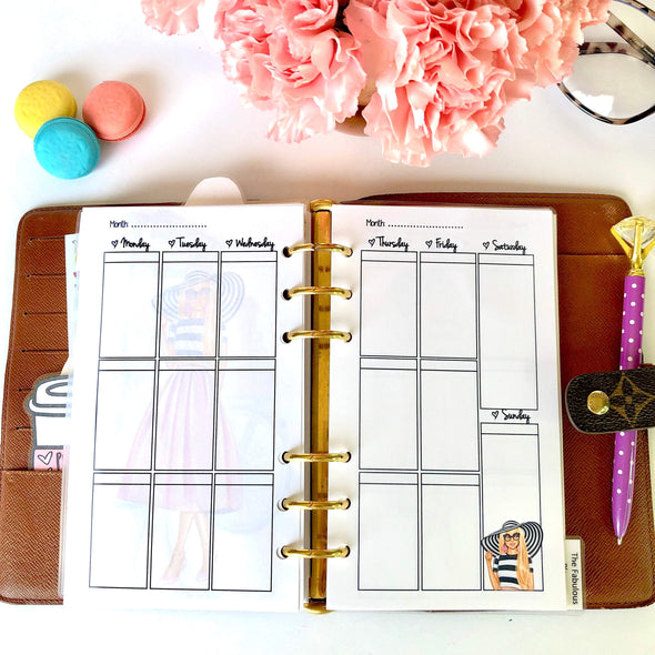 Spring Time Vertical Weekly Planner Inserts