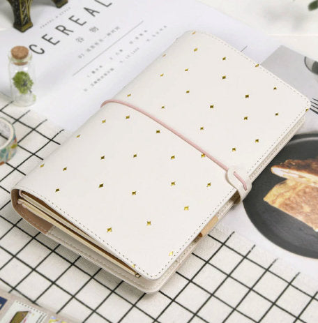 White and Gold Dots Faux Leather Traveler Notebook