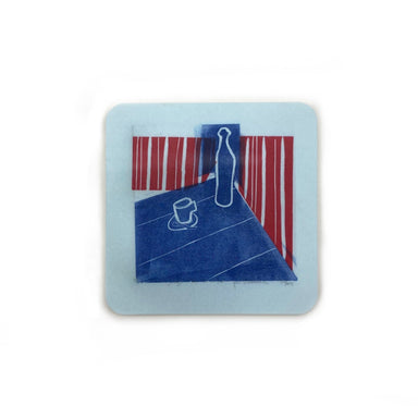 Cafe Scene Magnets by René Shoemaker - Red Striped Wall by René Shoemaker - K. A. Artist Shop