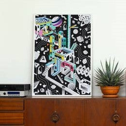 Black Cosmic Glow in the Dark Coloring Poster by OMY