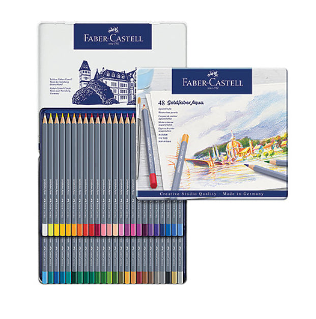 Faber-Castell Goldfaber Aqua Watercolor Pencil Set - 48-Color Tin Set